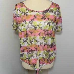 Aeropostale Semi Sheer Front Knot Top